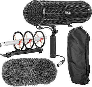 Movo BWS1000 Blimp Microphone Windshield Mount and Vibration Protection System for Shotgun Microphones - Features 12-point Internal Shock Mount, Integrated XLR Cable, Deadcat Windscreen and Grip Handl