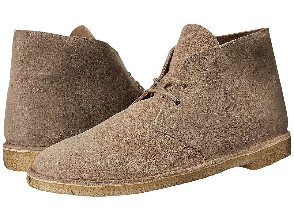 Mens Vintage Style Shoes| Retro Classic Shoes Clarks Desert Boot Taupe Distressed Suede Mens Lace-up Boots $130.00 AT vintagedancer.com