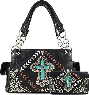 Turquoise Rhinestone Cross Chevron Women Conceal Carry Handbag Wallet Set