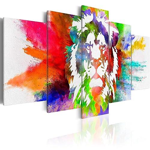 murando - Bilder 225x112 cm Vlies Leinwandbild 5 TLG Kunstdruck modern Wandbilder XXL Wanddekoration Design Wand Bild - Abstrakt Tiere Löwe bunt g-C-0019-b-o
