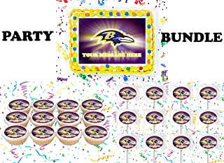 Baltimore Ravens Party Supplies 3 Pc Set Including Edible Image Cake Topper Frosting Sugar Sheet, Personalized Cupcakes, Lollipops Decorations