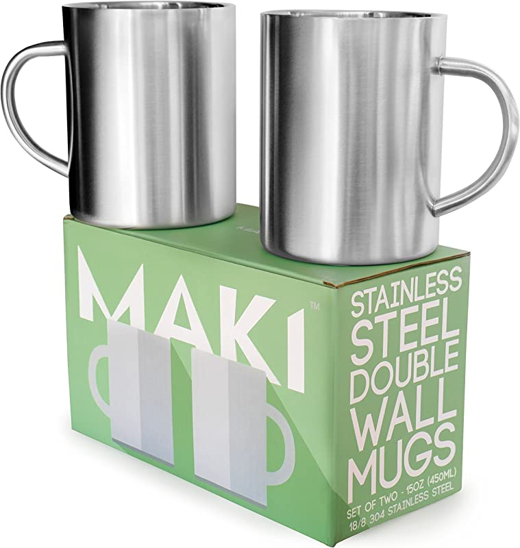 Stainless Steel Double Wall Mugs Perfect For Coffee And Tea Set Of 2 15oz 450mL 2 Stainless Steel