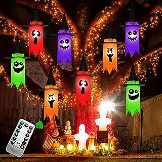 JOYIN Halloween 8 Pack Hanging Light up Ghost Set with Remote Control, Halloween Light up Hanging Ghost Prop Decoration wi...