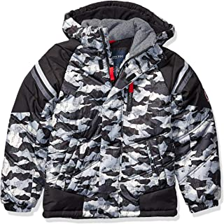 London Fog Boys' Little Active Puffer Jacket Winter Coat, Super Grey Camo, 5/6