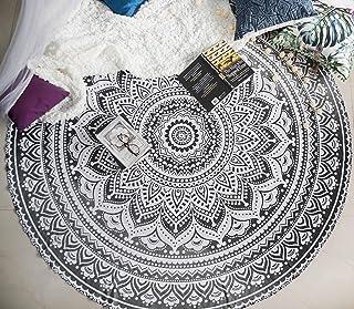 Indie Pop Mandala Round Tapestry or Beach Blanket - Hippie Indian Bohemian Mandala Blanket or Towel - Round Boho Tableclot...