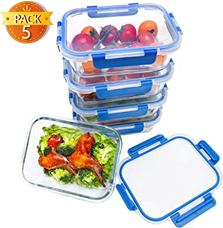 BlueHills Premium Glass Meal Prep Lunch Containers with Green Snap Lock Lids Glass Food Containers BPA-Free Oven Freezer D...