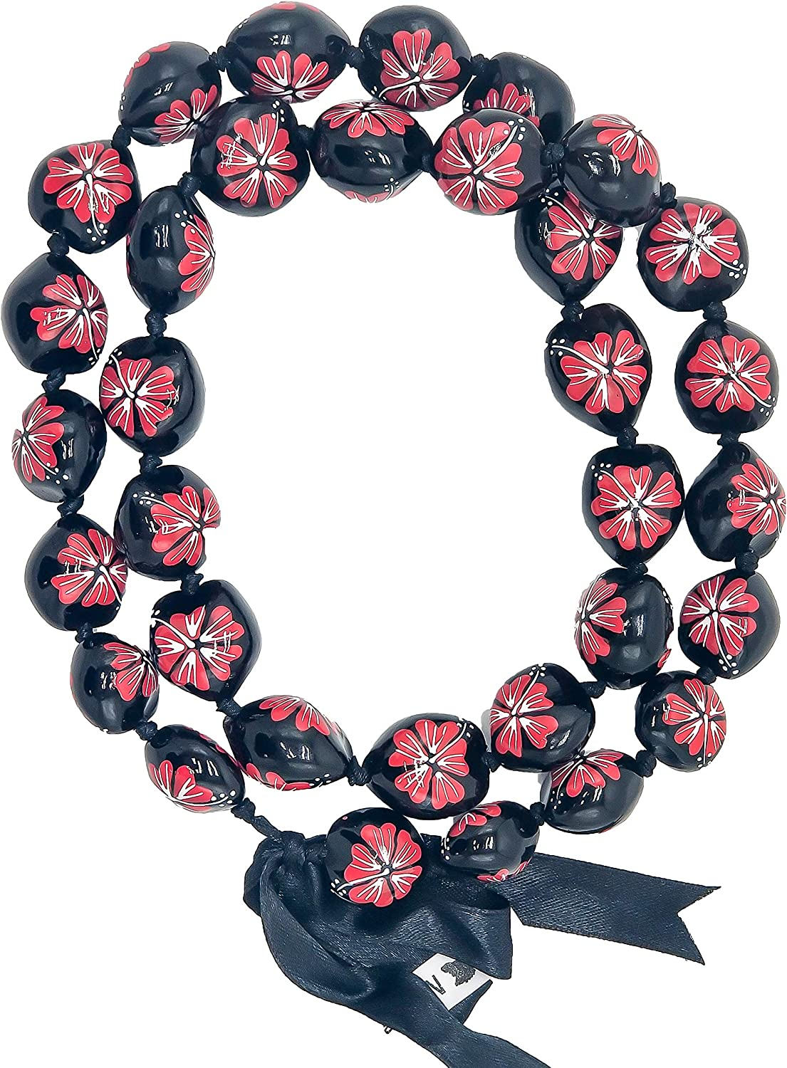 Hawaiian Kukui Nut Leis Beads Necklaces with Hand Painted Flower Adjustable 32 inches Lei for Men and Women