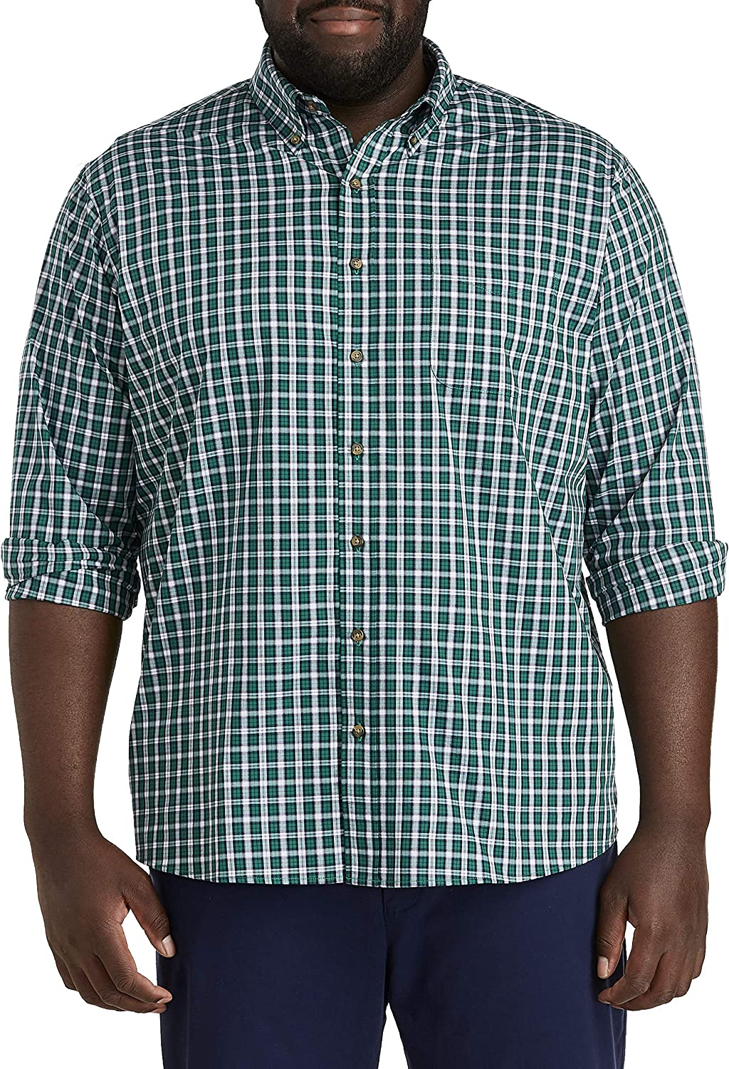 Harbor Bay by DXL Big and Tall Easy-Care Performance Plaid Sport Shirt, Evergreen