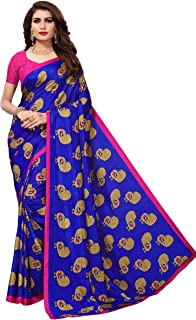ETHNICMODE India Women's maalgudi and Kalamkari Silk Style Saree with Blouse Piece (Multi-Color_Free_Size) GOPALA Blue