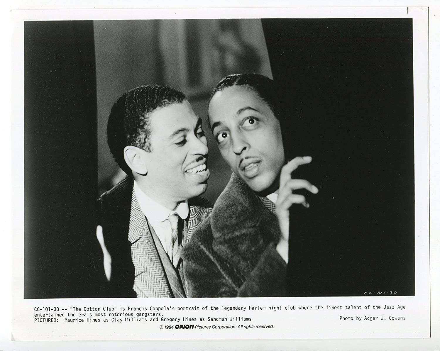 MOVIE PHOTO: Memphis Mall Year-end gift Cotton Club-Gregory Maurice Hines-8x10-BW-Stil and