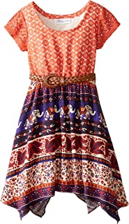 Bonnie Jean Little Girls' Dress Lace To Tribal Print Chiffon Belted Skirt