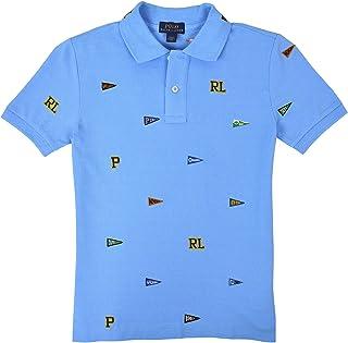 765d1e357 Polo Ralph Lauren Boys Kids Mesh Classic Fit Embroidered Pennant Flags Polo  Shirt Light Blue