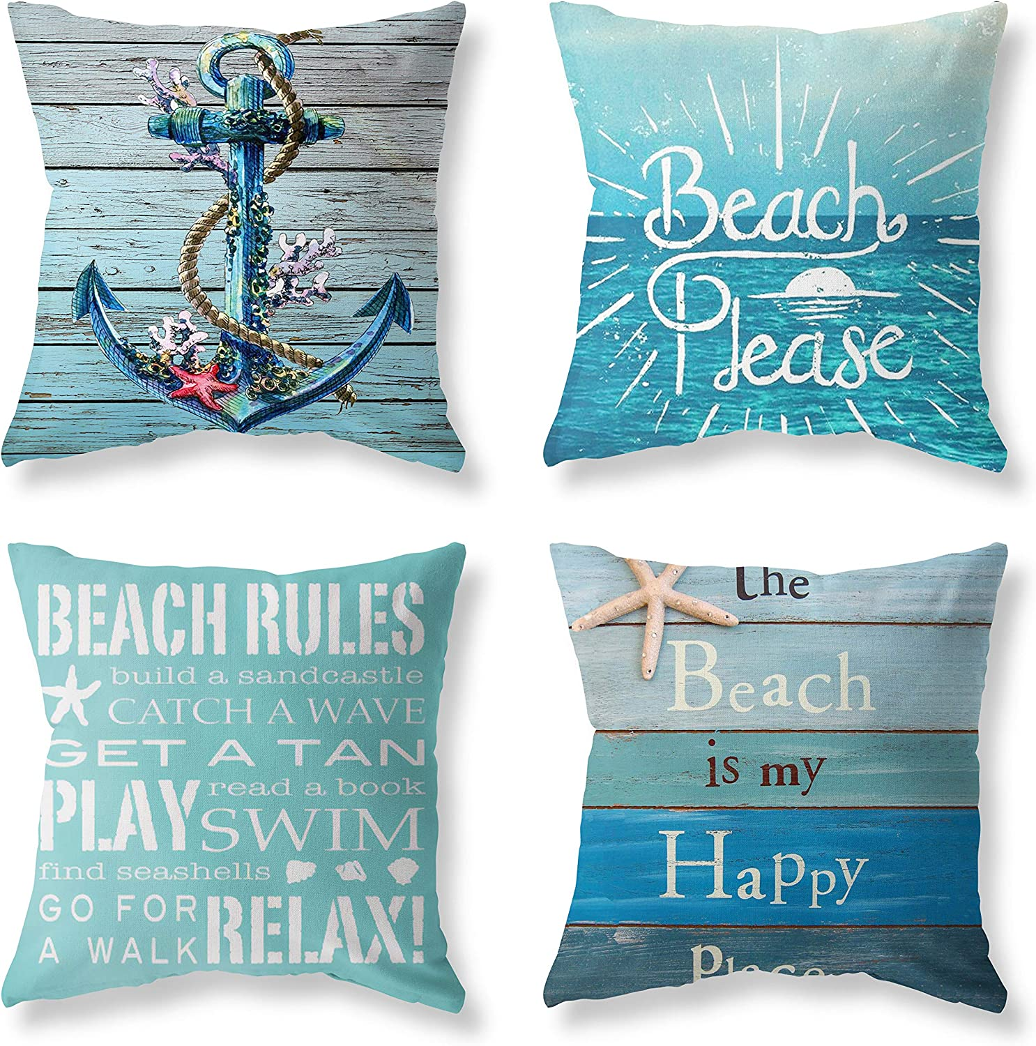 5 popular LuckyCow Nautical Wood Beach Rules Quote Grain Blue Purchase Holiday