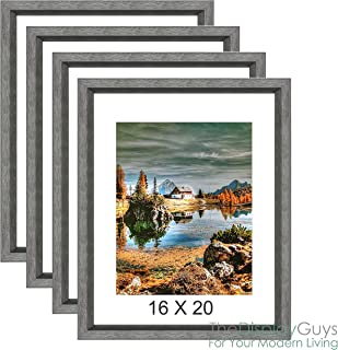The Display Guys 16x20 Grey Walnut Wood Finish Picture Frame w. Removable Mat Board & Tempered Glass, matted for 11x14 Photo Value 4-Pack