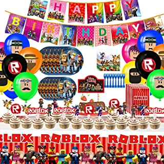 Robot Blocks Party Supplies for Kids'Birthday, Ro-blox Decorations Included Banners, Cake Topper, Plates, Forks, Gift Bags...