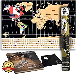 Scratch Off World Map Poster – with Country Flags, for Travel, Education, and Fun – Perfect for Travelers and Childrenּ+Free Ebook, Scrtcher, Wiping Cloth and Tube by Mr Columbus