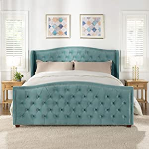 Jennifer Taylor Home Marcella Tufted Wingback Bed, King, Arctic Blue