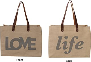 Earthwise Reusable Grocery Bag Shopping Tote Cotton Jute Burlap with Leather Handle - Water Resistant Laminated Inner Lining Great for Beach Picnics Farm to Table Print (Love/Life)
