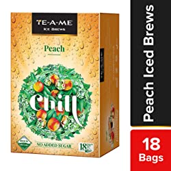 TE-A-ME Ice Brews Cold Brew Ice Tea, Peach, 18 Pyramid Tea Bags