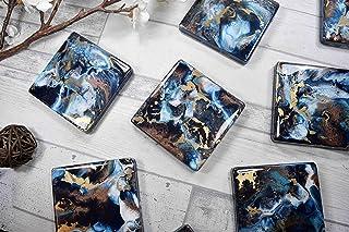 Posavasos para bebidas con arte en resina de bronce dorado azul