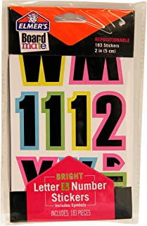 """ELMERS Board Mate Repositionable 2"""" Letter, Number & Symbol Stickers, Bright Colors, 183 Pieces (E3096)"""