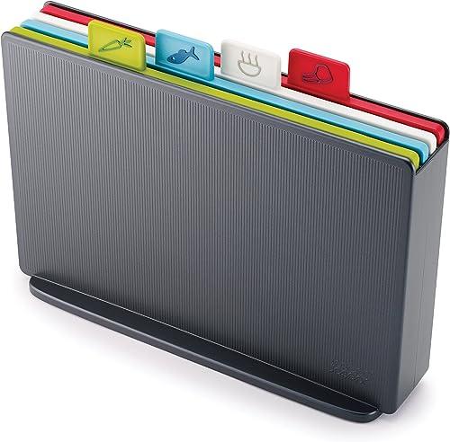 JOSEPH JOSEPH JJ60132 Index Chopping Board Chopping Board, Graphite case with Multi-Coloured Boards