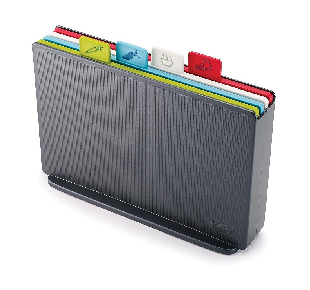Joseph Joseph 60132 Index Plastic Cutting Board Set With Storage Case Color-Coded Dishwasher-Safe Non-Slip, Small, Graphite tamx25307