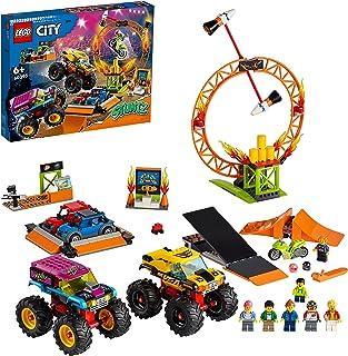 LEGO 60295 City Stuntz Stuntshow-Arena, zestaw z 2 trucks Monster Truck, 2 samochodziki zabawkowe, motocykl napędzany kołe...