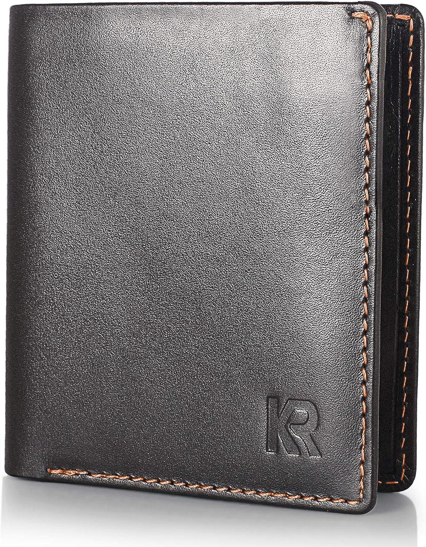 KRONIFY Mini Wallet Men Small - tamaño Bolsillo I protección RFID aprobada por el TÜV I Cartera de Cuero Negro con Detalles en Naranja I Cartera para Hombres