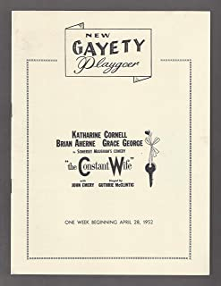 "Katharine Cornell""THE CONSTANT WIFE"" Brian Aherne/Grace George/W. Somerset Maugham 1952 Baltimore Playbill"