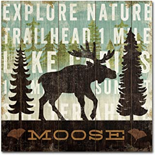 Simple Living Moose Artwork by Michael Mullan, 24 by 24-Inch Canvas Wall Art