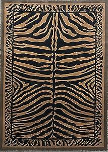 Zebra Skin Print Area Rug Black & Gold Design D142 (5 feet x 7 feet)