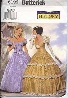Butterick Sewing Pattern 6195 Civil War Era / Victorian Gown, Sizes 12-14-16