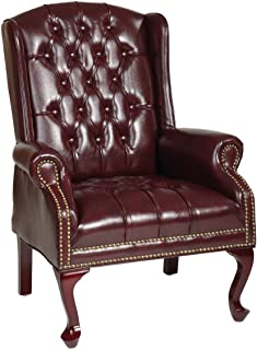 Office Star Thick Padded Vinyl Tufted High Back Traditional Queen Anne Style Chair with Nailhead Accents and Mahogany Fini...