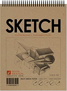 "Design Ideation Sketch Book. Spiral Bound, Multi-Media Paper Sketchbook for Pencil, Ink, Marker, Charcoal and Watercolor Paints. Great for Art, Design and Education. (8.5"" x 11"") (2 Books)"