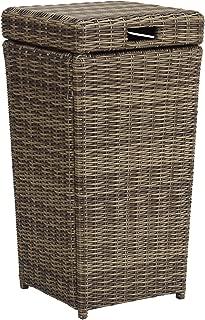 Crosley Furniture CO7306-WB Bradenton Outdoor Wicker Trash Bin - Weathered Brown