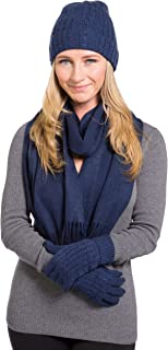 Fishers Finery Women's 100% Cashmere 3pc Hat Glove and Scarf Set; Gift Box