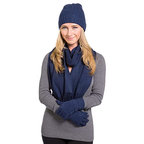Fishers Finery Women s 100% Cashmere 3pc Hat Glove and Scarf Set  Gift Box 01708885d42