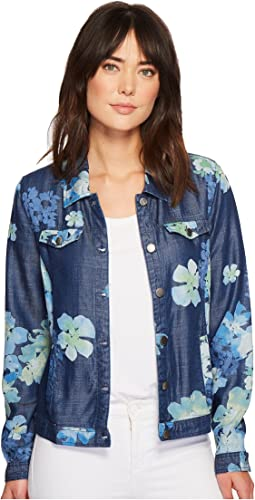 Tribal Long Sleeve Printed Slub Denim Button Front Jacket
