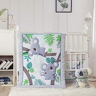 La Premura Baby Koala Nursery Crib Bedding Set, 3 Piece Standard Size Crib Set, Grey and Green, Unisex Nursey Bedding and ...
