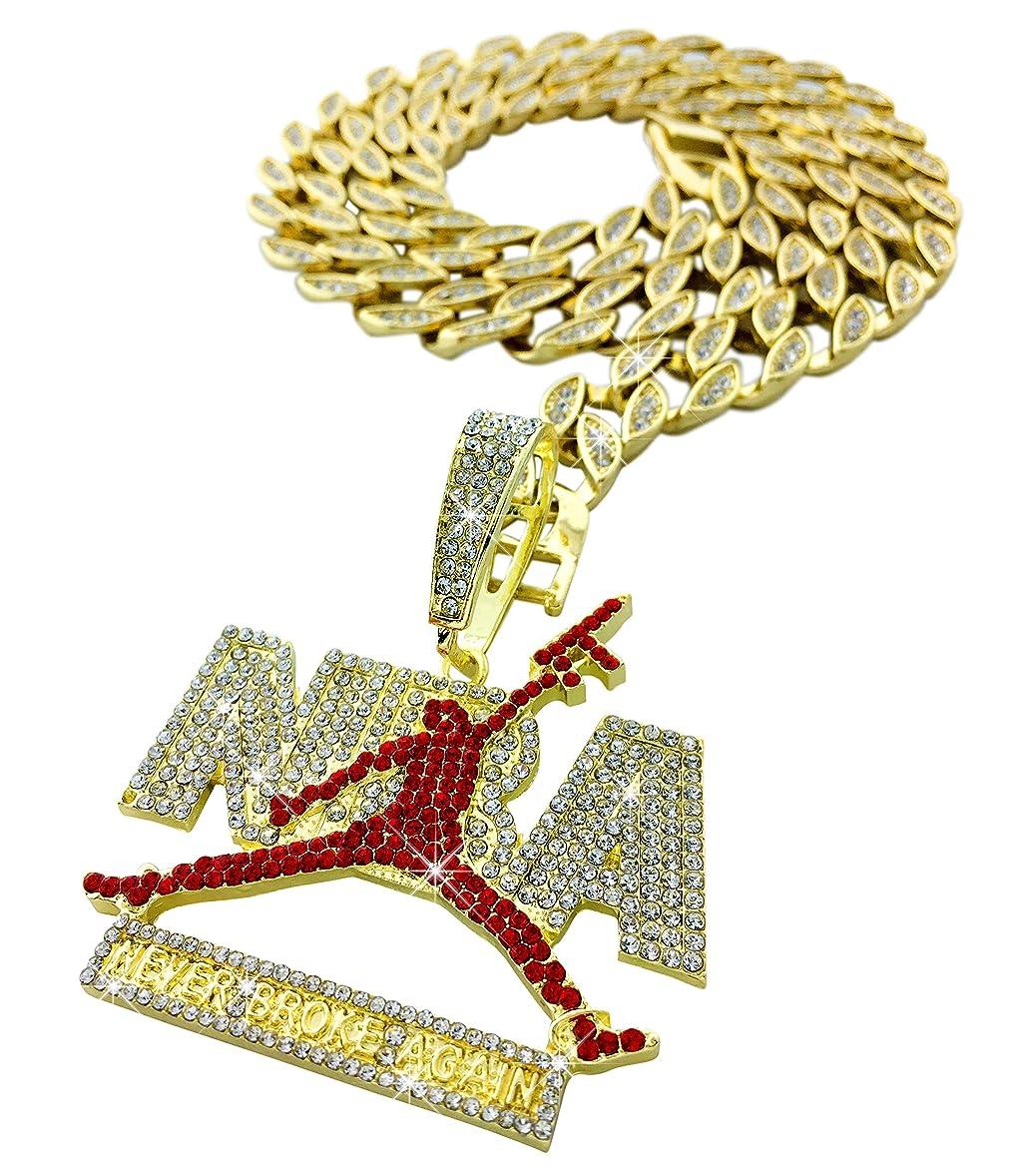 扱う模倣夫婦Exo Jewel アイスドアウト レッドダイヤモンド ヤングボーイ 二度と壊れない ゴールドペンダントネックレス 24インチのキュービックジルコニアキューバチェーン付き