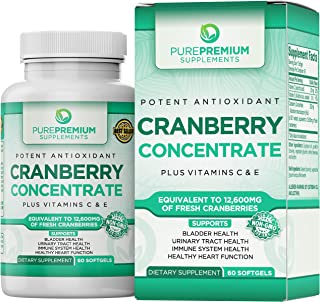 Premium Cranberry Concentrate Pills by PurePremium (Non-GMO & Gluten Free). Triple Strength Cranberry Pills Equals 12600mg of Cranberries. Plus, Vitamins C & E for Enhanced Absorption.