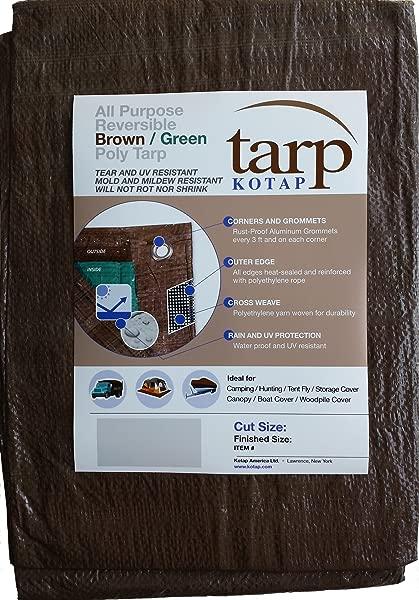 Kotap 16 Ft X 20 Ft Reversible Brown Green Poly Tarp Item TBG 1620