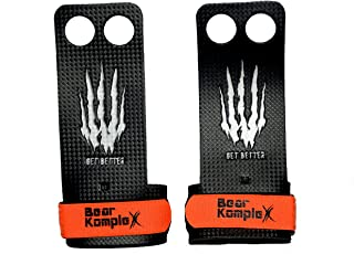 Bear KompleX 2 and 3 Hole Carbon Hand Grips for Gymnastics, Crossfit, Pull-ups, Weightlifting. WODs with Wrist Straps, Comfort and Support, Hand Protection from Rips and Blisters for Men and Women