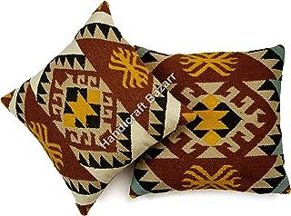 Handicraft Bazarr Lot de 2 housses de coussin en jute Style bohémien Style bohème Style vintage Kilim Style hippie Fait à ...