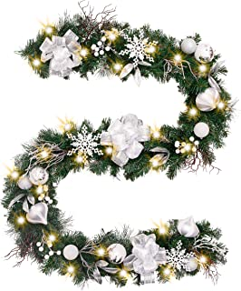 Valery Madelyn Pre-Lit 9 Feet/106 Inch Frozen Winter Silver White Christmas Garland with Shatterproof Ball Ornaments, Snowflakes, Pine Cones, Ribbons and Flowers, Battery Operated 40 LED Lights