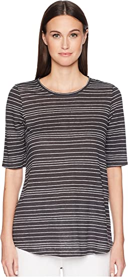 Eileen Fisher Organic Linen Jersey Stripe Elbow-Sleeve Top