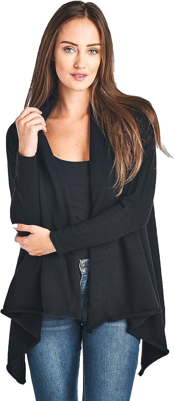 Mariyaab Women's 100% Cashmere Long Sleeve Front Asymmetric Hem Open Cardigan Sweater (17616, Black, M)