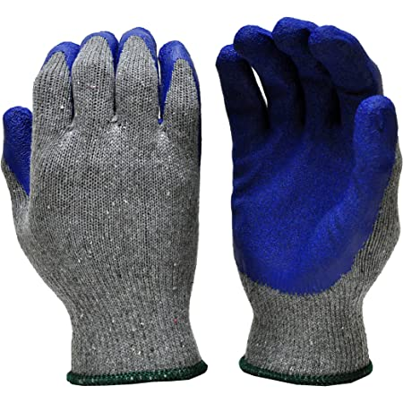 G & F 1511L-DZ Rubber Latex Coated Work Gloves for Construction, Blue, Crinkle Pattern, Men's Large (Sold by dozen, 12 Pairs)