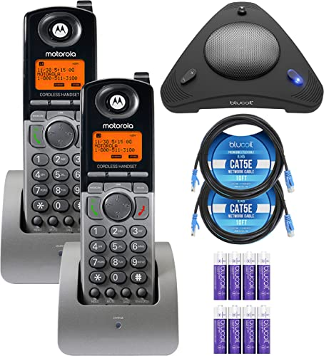 2021 Motorola ML1200 DECT 6.0 Expandable 4-line Business Phone System sale with Voicemail (2-Pack) Bundle with Blucoil 8 AAA Batteries, 10' Cat5e Cables (2-Pack), and USB Conference 2021 Speakerphone outlet online sale